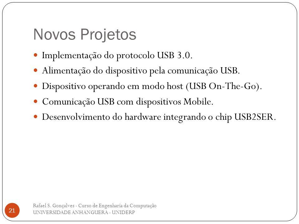Novos Projetos Rafael S. Gonçalves - Curso de Engenharia da Computação UNIVERSIDADE ANHANGUERA - UNIDERP 21 Implementação do protocolo USB 3.0. Alimen