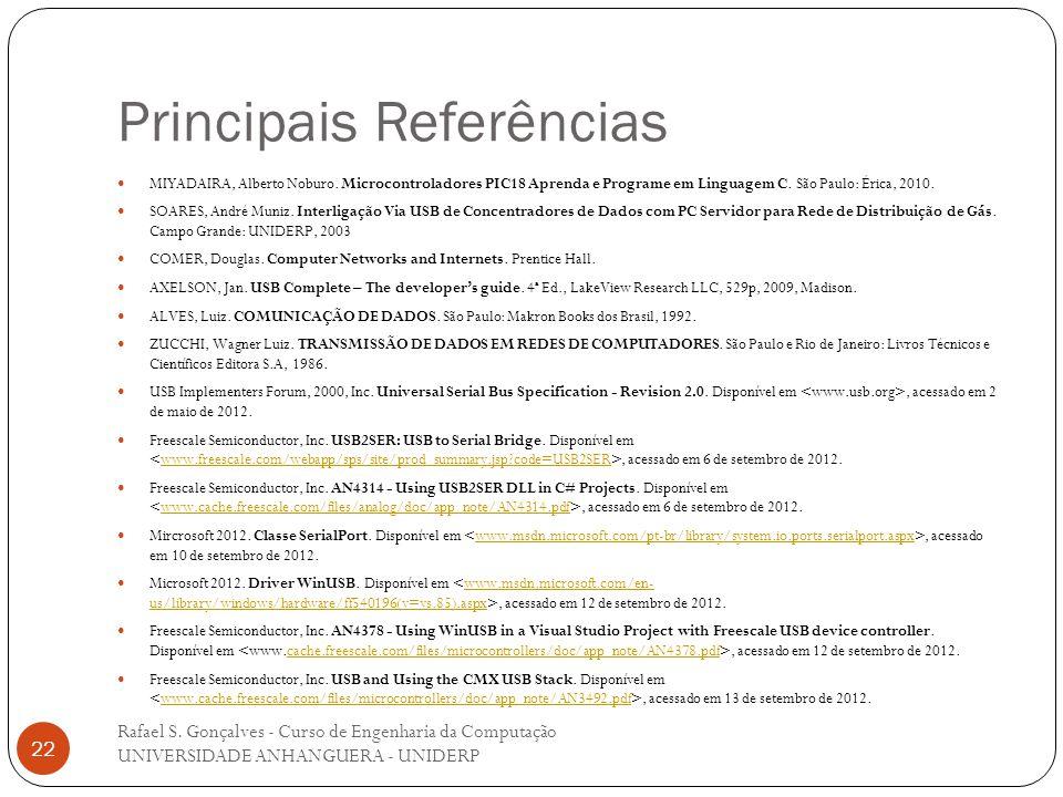 Principais Referências Rafael S. Gonçalves - Curso de Engenharia da Computação UNIVERSIDADE ANHANGUERA - UNIDERP 22 MIYADAIRA, Alberto Noburo. Microco
