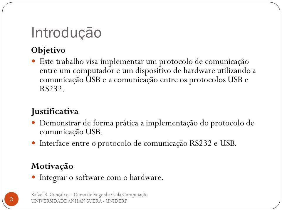 Introdução Rafael S. Gonçalves - Curso de Engenharia da Computação UNIVERSIDADE ANHANGUERA - UNIDERP 3 Objetivo Este trabalho visa implementar um prot