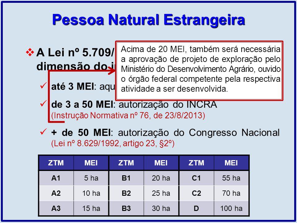 Pessoa Natural Estrangeira A Lei nº 5.709/1971 traz limites quanto à dimensão do imóvel: até 3 MEI: aquisição livre, exceto exigências gerais de 3 a 5