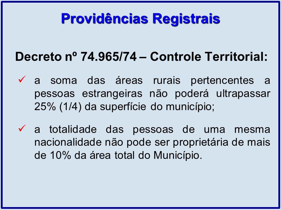 Providências Registrais Decreto nº 74.965/74 – Controle Territorial: a soma das áreas rurais pertencentes a pessoas estrangeiras não poderá ultrapassa