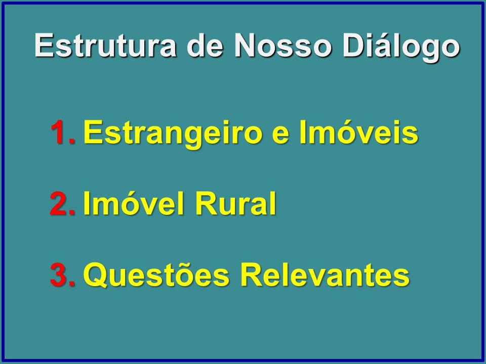 Estrutura de Nosso Diálogo 1.Estrangeiro e Imóveis 2.Imóvel Rural 3.Questões Relevantes