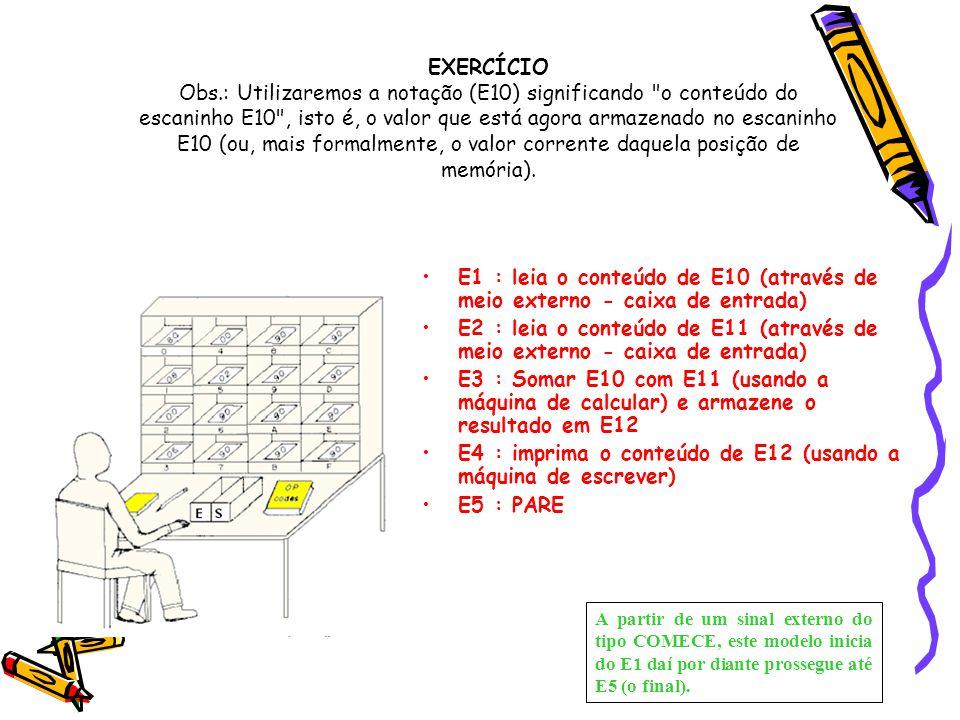EXERCÍCIO Obs.: Utilizaremos a notação (E10) significando
