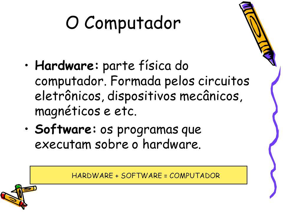 Hardware: parte física do computador. Formada pelos circuitos eletrônicos, dispositivos mecânicos, magnéticos e etc. Software: os programas que execut