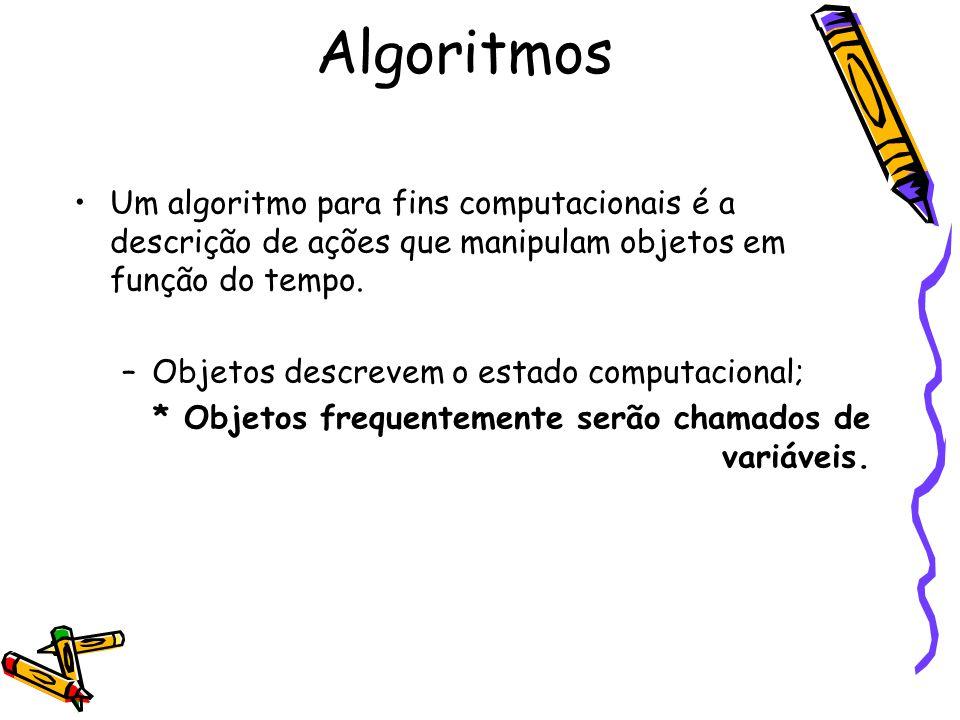 Um algoritmo para fins computacionais é a descrição de ações que manipulam objetos em função do tempo. –Objetos descrevem o estado computacional; * Ob