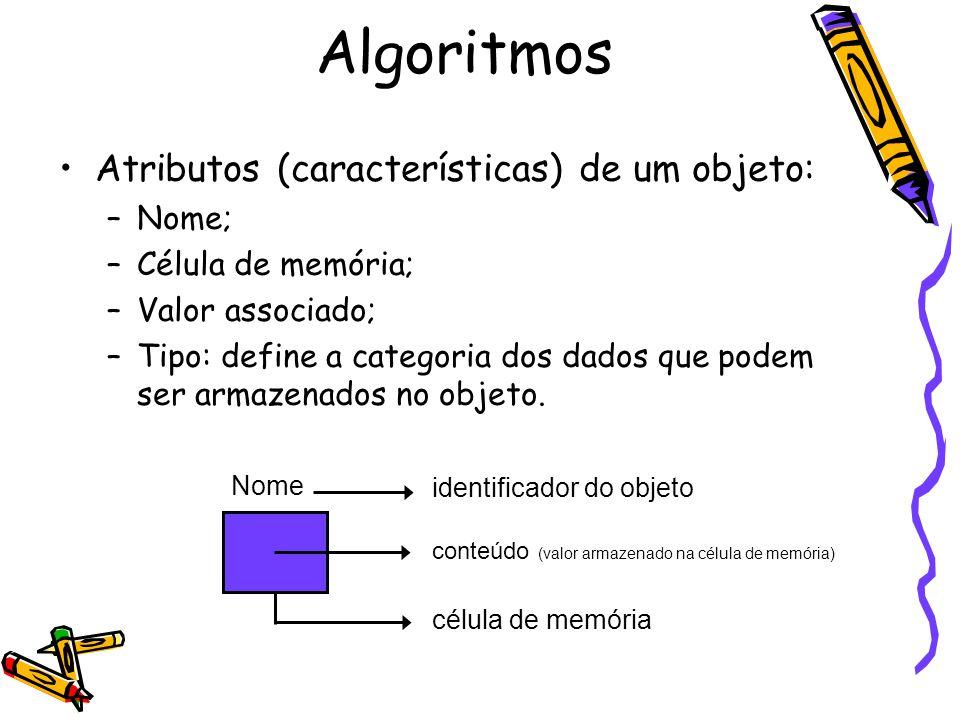 Atributos (características) de um objeto: –Nome; –Célula de memória; –Valor associado; –Tipo: define a categoria dos dados que podem ser armazenados n