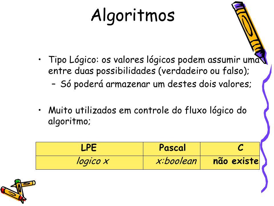 Tipo Lógico: os valores lógicos podem assumir uma entre duas possibilidades (verdadeiro ou falso); –Só poderá armazenar um destes dois valores; Muito