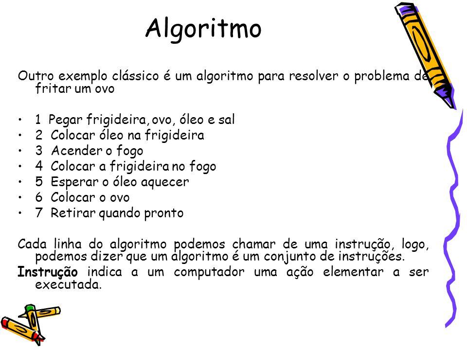 Algoritmo Outro exemplo clássico é um algoritmo para resolver o problema de fritar um ovo 1 Pegar frigideira, ovo, óleo e sal 2 Colocar óleo na frigid