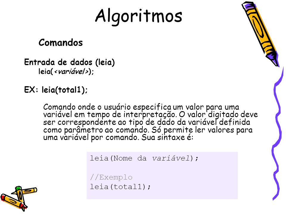 Comandos Entrada de dados (leia) leia( ); EX: leia(total1); Comando onde o usuário especifica um valor para uma variável em tempo de interpretação. O