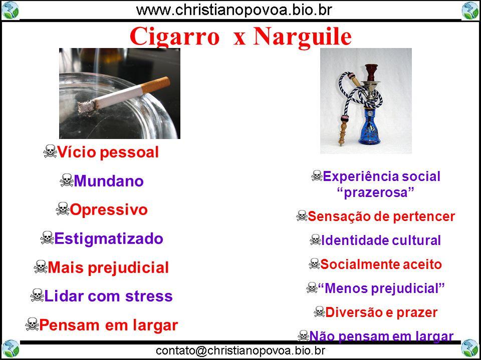 Cigarro x Narguile Vício pessoal Mundano Opressivo Estigmatizado Mais prejudicial Lidar com stress Pensam em largar Experiência social prazerosa Sensa