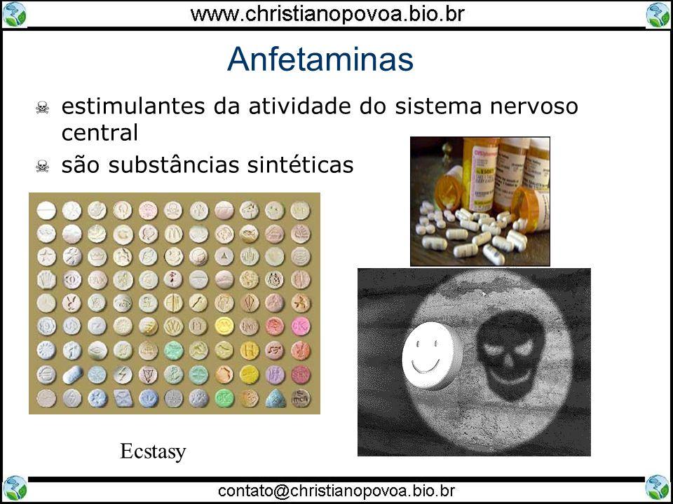 Anfetaminas estimulantes da atividade do sistema nervoso central são substâncias sintéticas Ecstasy