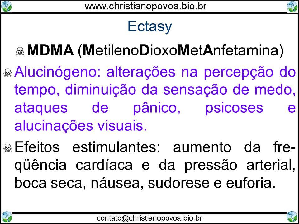 Ectasy MDMA (MetilenoDioxoMetAnfetamina) Alucinógeno: alterações na percepção do tempo, diminuição da sensação de medo, ataques de pânico, psicoses e