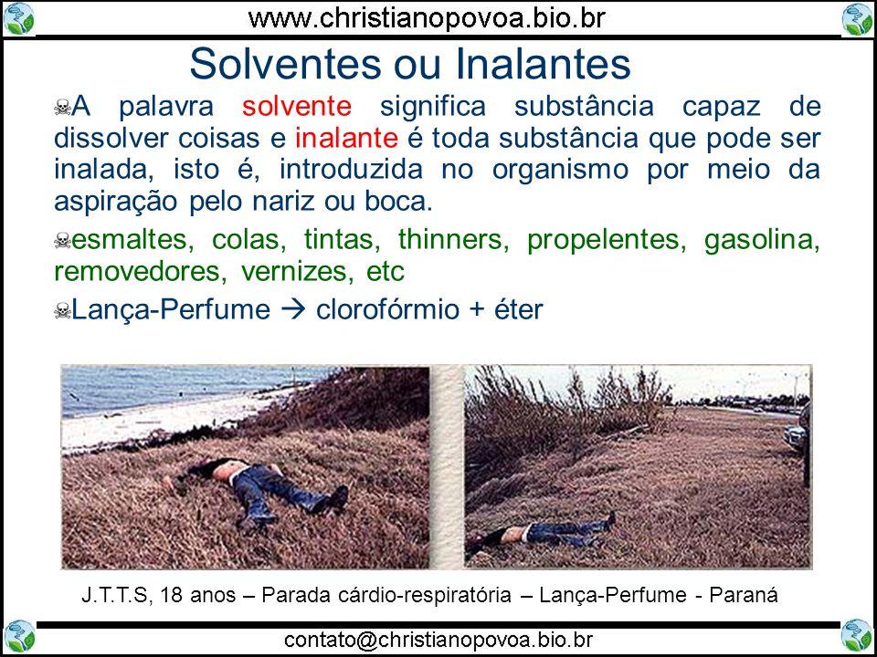 Solventes ou Inalantes A palavra solvente significa substância capaz de dissolver coisas e inalante é toda substância que pode ser inalada, isto é, in