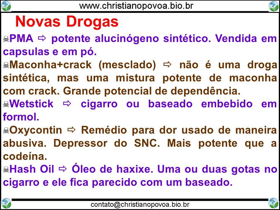 Novas Drogas PMA potente alucinógeno sintético. Vendida em capsulas e em pó. Maconha+crack (mesclado) não é uma droga sintética, mas uma mistura poten