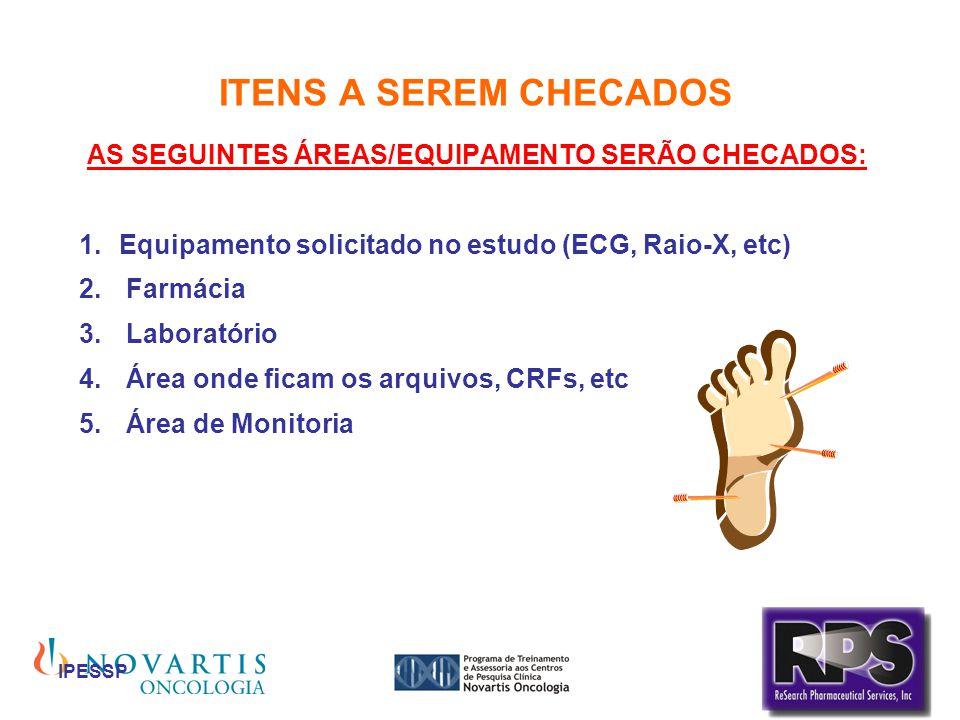 IPESSP ITENS A SEREM CHECADOS AS SEGUINTES ÁREAS/EQUIPAMENTO SERÃO CHECADOS: Equipamento solicitado no estudo (ECG, Raio-X, etc) Farmácia Laboratório