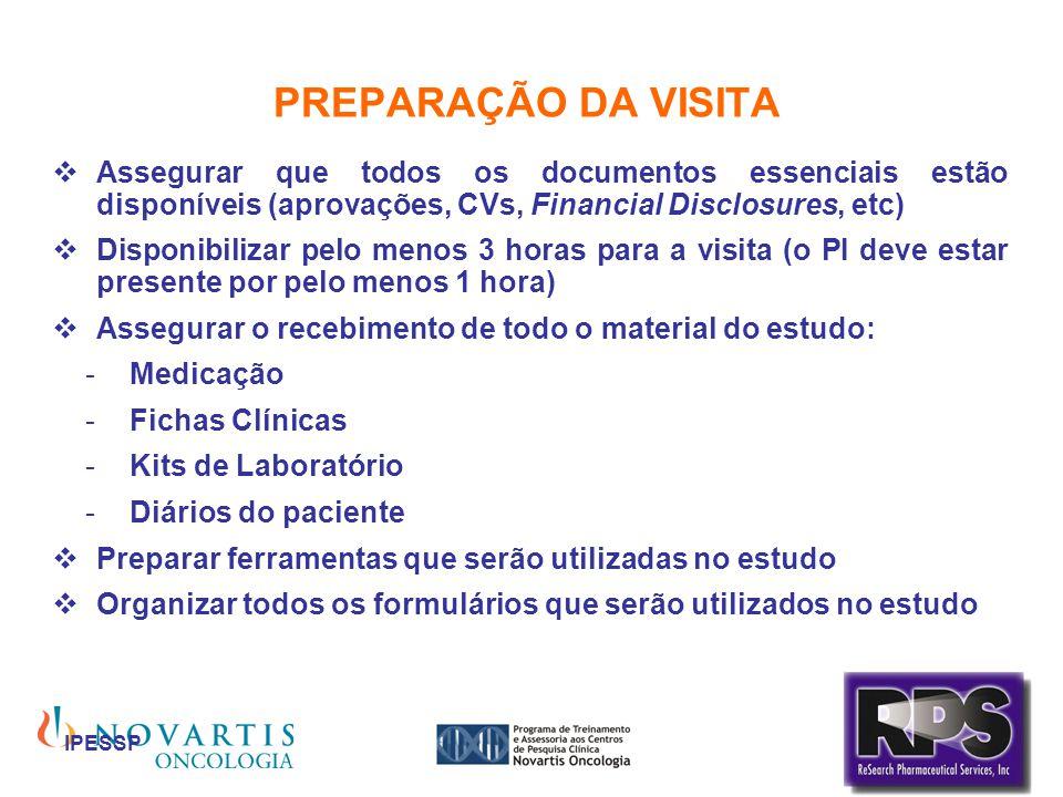 IPESSP PREPARAÇÃO DA VISITA Assegurar que todos os documentos essenciais estão disponíveis (aprovações, CVs, Financial Disclosures, etc) Disponibiliza