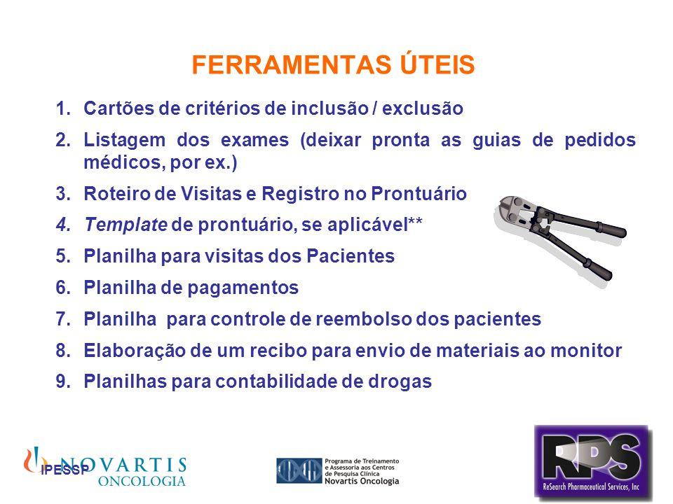 IPESSP FERRAMENTAS ÚTEIS Cartões de critérios de inclusão / exclusão Listagem dos exames (deixar pronta as guias de pedidos médicos, por ex.) Roteiro