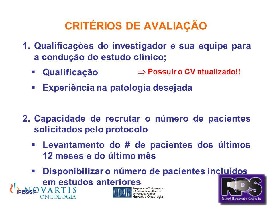 IPESSP CRITÉRIOS DE AVALIAÇÃO Qualificações do investigador e sua equipe para a condução do estudo clínico; Qualificação Experiência na patologia dese