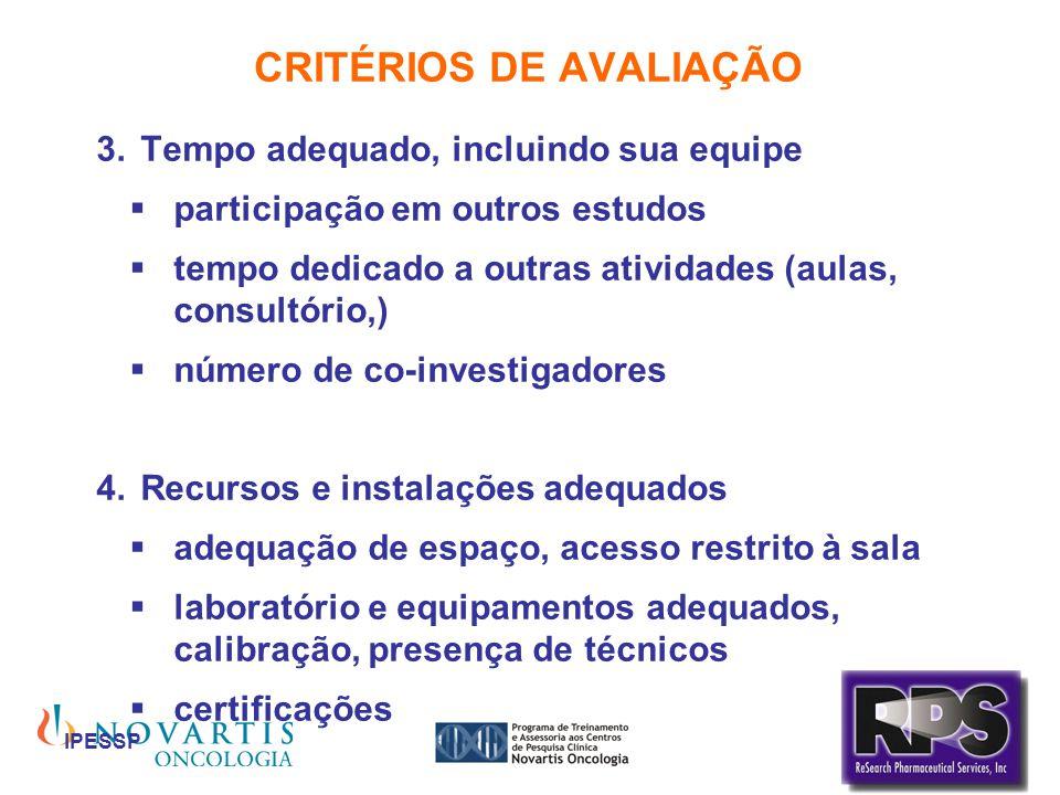 IPESSP CRITÉRIOS DE AVALIAÇÃO Tempo adequado, incluindo sua equipe participação em outros estudos tempo dedicado a outras atividades (aulas, consultór