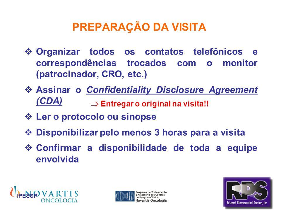 IPESSP PREPARAÇÃO DA VISITA Organizar todos os contatos telefônicos e correspondências trocados com o monitor (patrocinador, CRO, etc.) Assinar o Conf