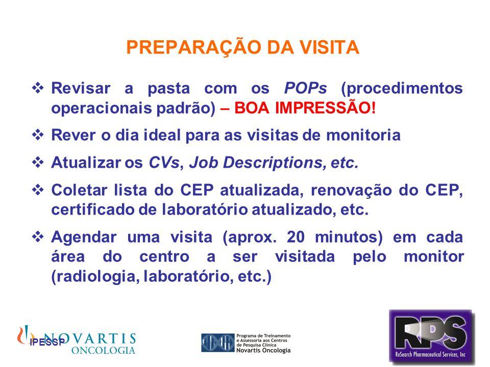 IPESSP PREPARAÇÃO DA VISITA Revisar a pasta com os POPs (procedimentos operacionais padrão) – BOA IMPRESSÃO! Rever o dia ideal para as visitas de moni