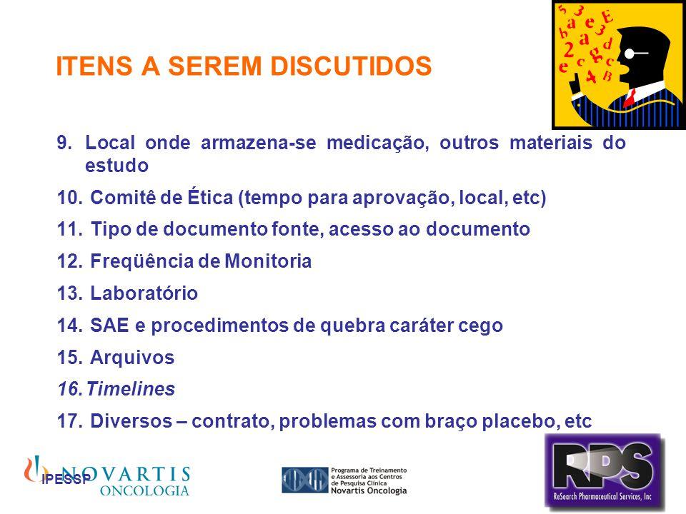 IPESSP ITENS A SEREM DISCUTIDOS Local onde armazena-se medicação, outros materiais do estudo Comitê de Ética (tempo para aprovação, local, etc) Tipo d
