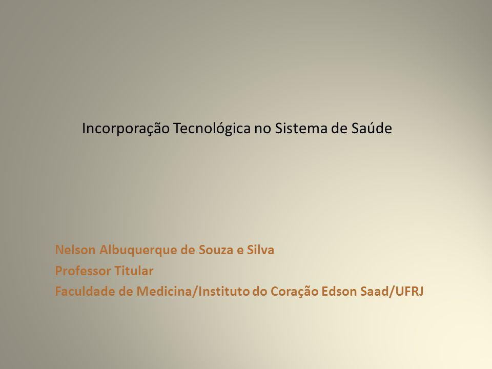 Nelson Albuquerque de Souza e Silva Professor Titular Faculdade de Medicina/Instituto do Coração Edson Saad/UFRJ Incorporação Tecnológica no Sistema de Saúde
