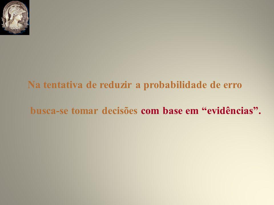 Na tentativa de reduzir a probabilidade de erro busca-se tomar decisões com base em evidências.