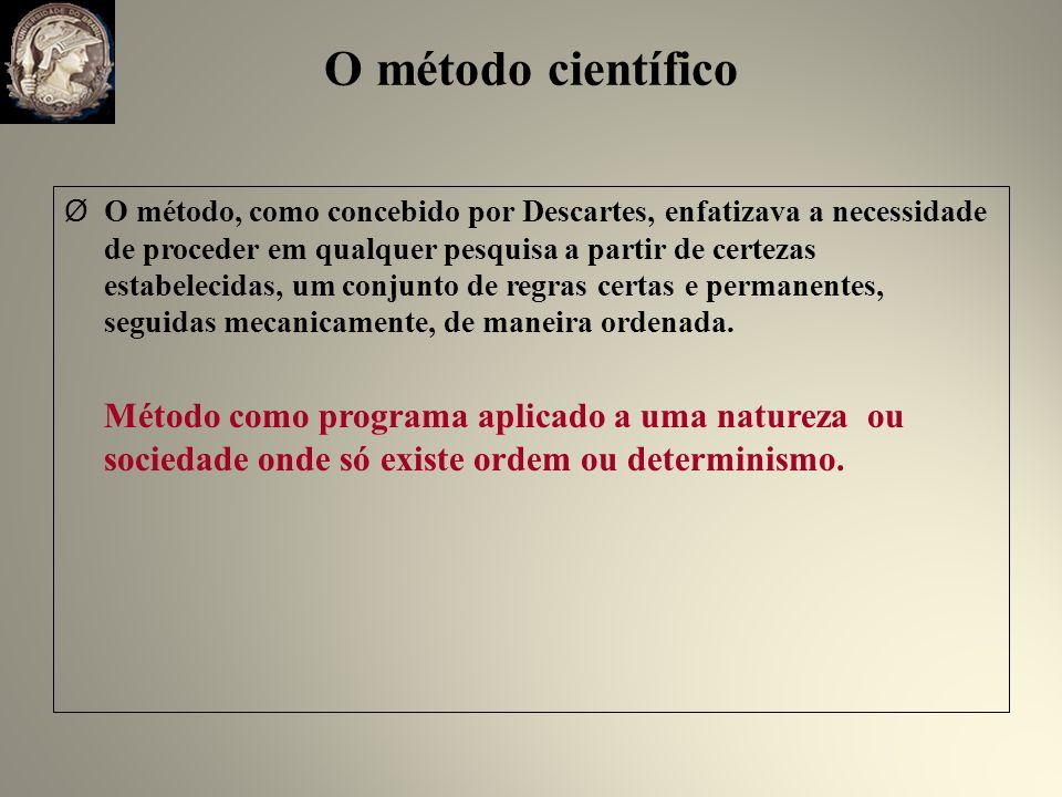 O método científico Ø O método, como concebido por Descartes, enfatizava a necessidade de proceder em qualquer pesquisa a partir de certezas estabelecidas, um conjunto de regras certas e permanentes, seguidas mecanicamente, de maneira ordenada.