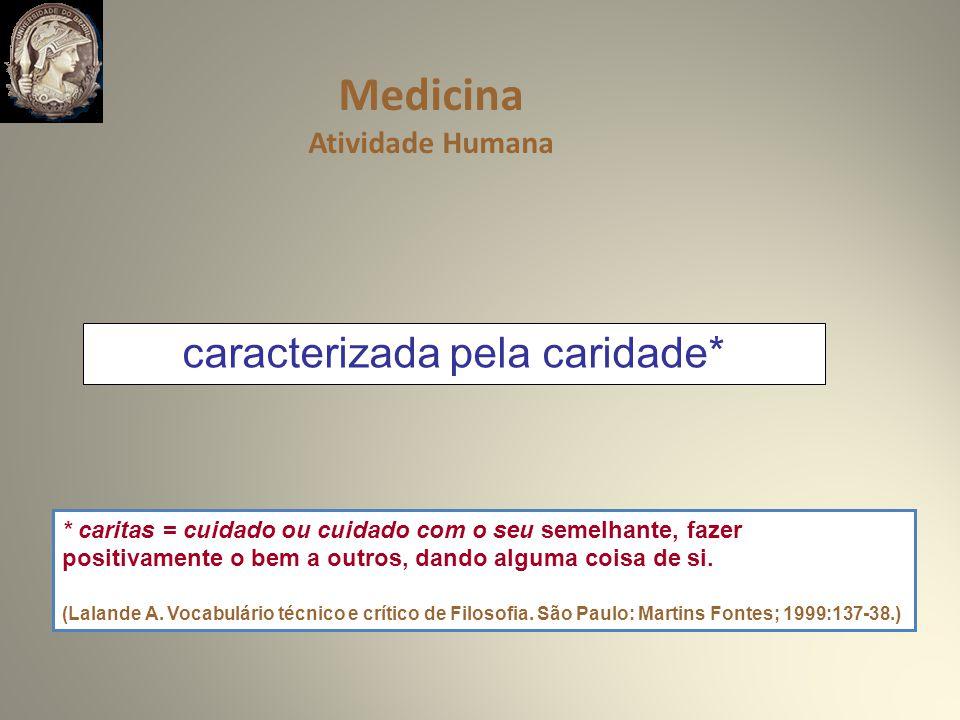 caracterizada pela caridade* Medicina Atividade Humana * caritas = cuidado ou cuidado com o seu semelhante, fazer positivamente o bem a outros, dando alguma coisa de si.