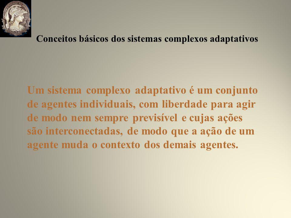 Conceitos básicos dos sistemas complexos adaptativos Um sistema complexo adaptativo é um conjunto de agentes individuais, com liberdade para agir de modo nem sempre previsível e cujas ações são interconectadas, de modo que a ação de um agente muda o contexto dos demais agentes.