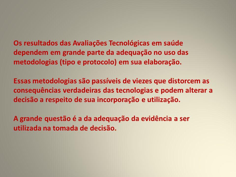 Os resultados das Avaliações Tecnológicas em saúde dependem em grande parte da adequação no uso das metodologias (tipo e protocolo) em sua elaboração.