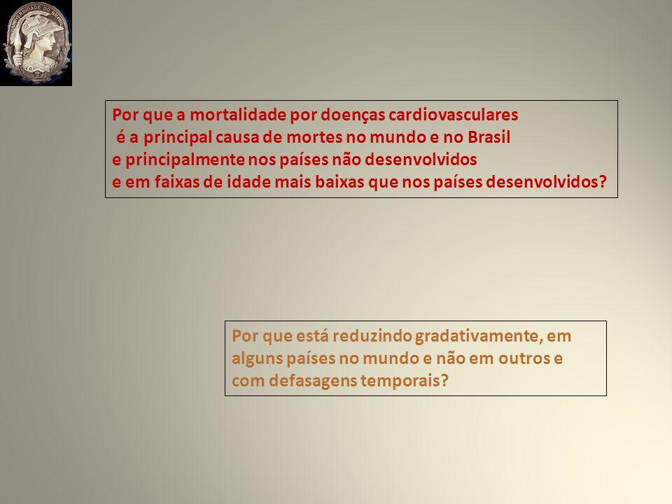 Por que a mortalidade por doenças cardiovasculares é a principal causa de mortes no mundo e no Brasil e principalmente nos países não desenvolvidos e em faixas de idade mais baixas que nos países desenvolvidos.
