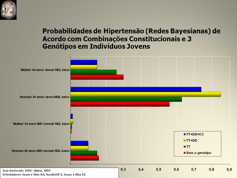 Probabilidades de Hipertensão (Redes Bayesianas) de Acordo com Combinações Constitucionais e 3 Genótipos em Indivíduos Jovens Tese doutorado 2006: Matos, MFD Orientadores: Souza e Silva NA, Rondinelli E, Souza e Silva EA