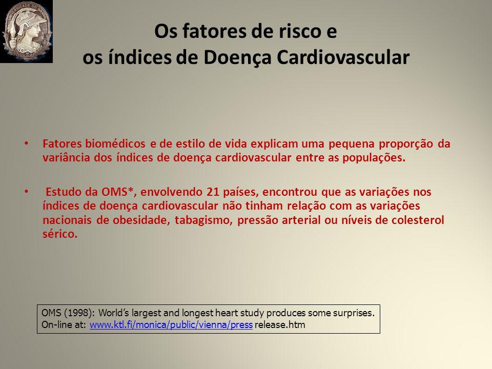 Os fatores de risco e os índices de Doença Cardiovascular Fatores biomédicos e de estilo de vida explicam uma pequena proporção da variância dos índices de doença cardiovascular entre as populações.
