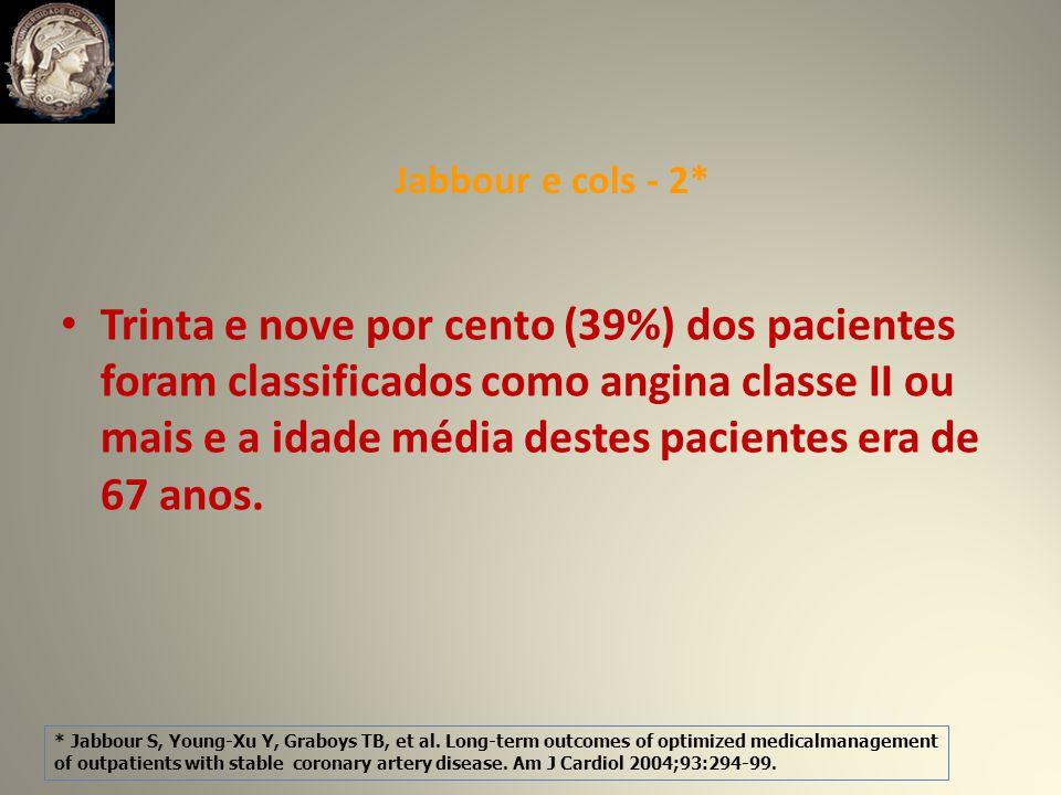 Trinta e nove por cento (39%) dos pacientes foram classificados como angina classe II ou mais e a idade média destes pacientes era de 67 anos.