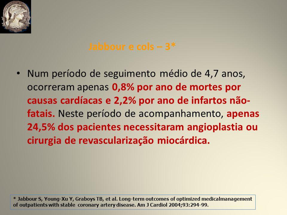 Num período de seguimento médio de 4,7 anos, ocorreram apenas 0,8% por ano de mortes por causas cardíacas e 2,2% por ano de infartos não- fatais.