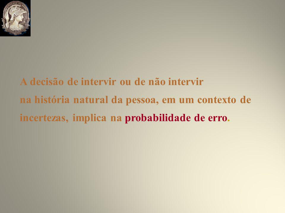 A decisão de intervir ou de não intervir na história natural da pessoa, em um contexto de incertezas, implica na probabilidade de erro.
