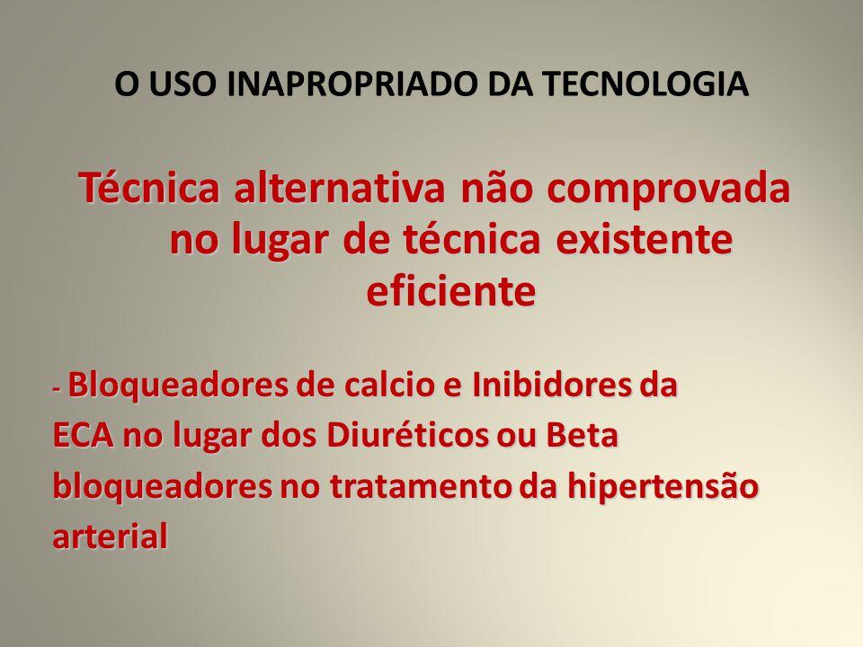 O USO INAPROPRIADO DA TECNOLOGIA Técnica alternativa não comprovada no lugar de técnica existente eficiente - Bloqueadores de calcio e Inibidores da ECA no lugar dos Diuréticos ou Beta bloqueadores no tratamento da hipertensão arterial