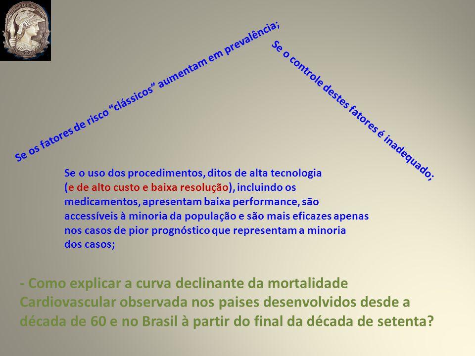 - Como explicar a curva declinante da mortalidade Cardiovascular observada nos paises desenvolvidos desde a década de 60 e no Brasil à partir do final da década de setenta.