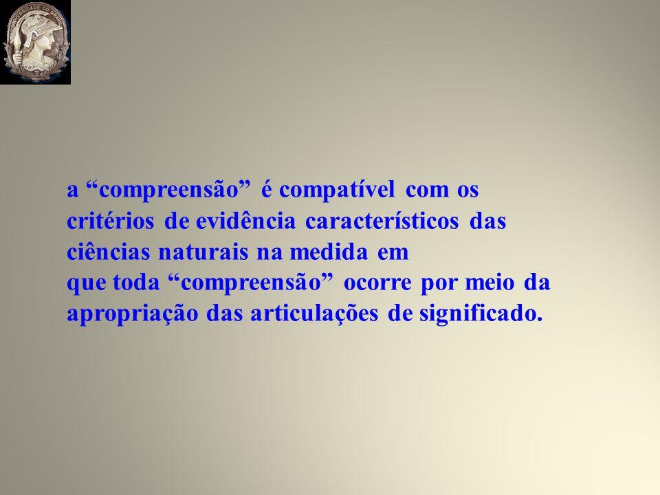 a compreensão é compatível com os critérios de evidência característicos das ciências naturais na medida em que toda compreensão ocorre por meio da apropriação das articulações de significado.