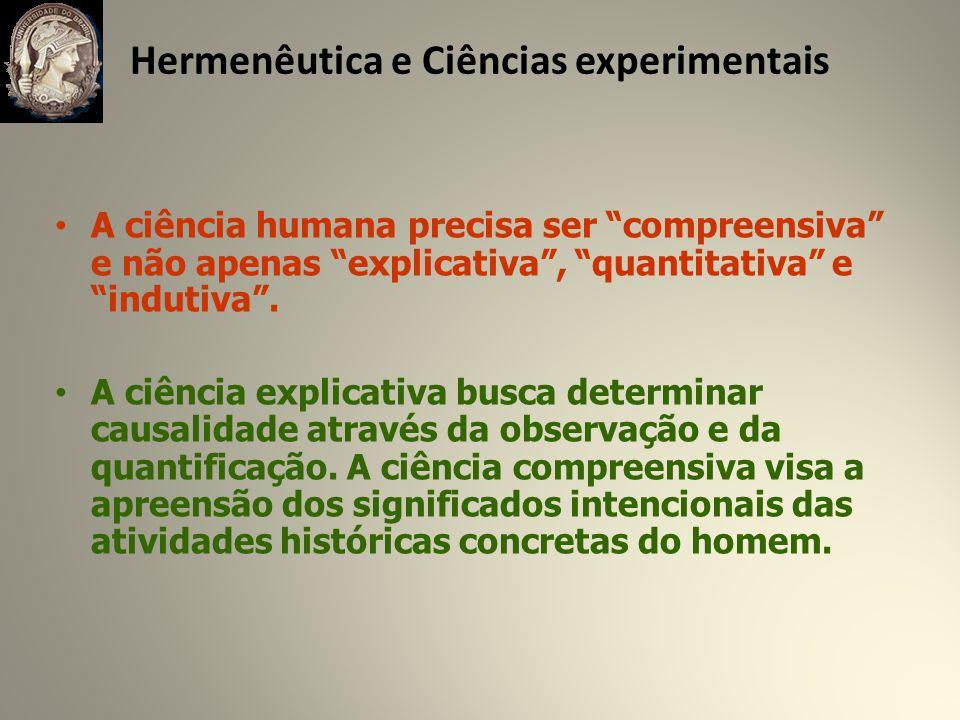 Hermenêutica e Ciências experimentais A ciência humana precisa ser compreensiva e não apenas explicativa, quantitativa e indutiva.