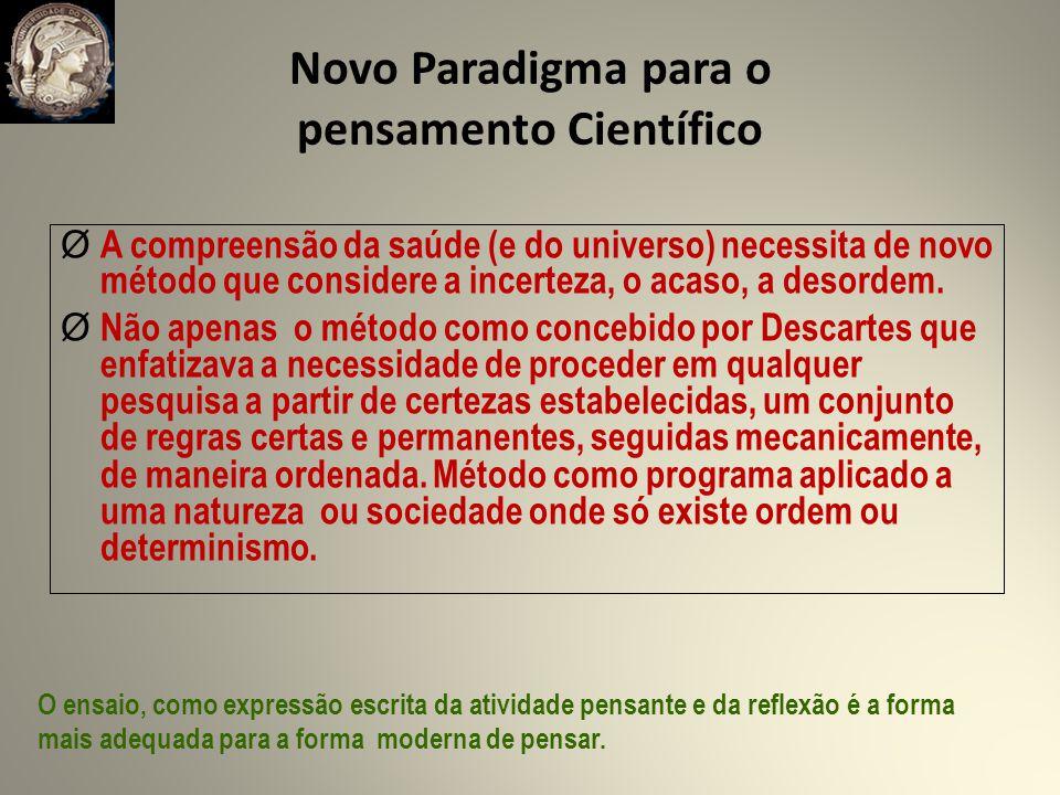 Novo Paradigma para o pensamento Científico Ø A compreensão da saúde (e do universo) necessita de novo método que considere a incerteza, o acaso, a desordem.