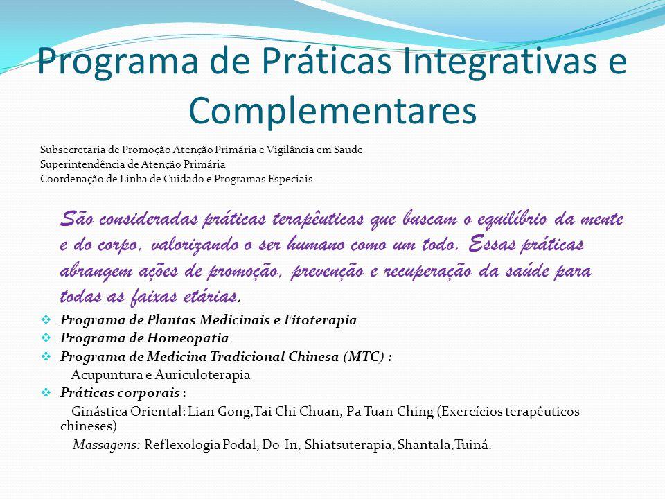Programa de Práticas Integrativas e Complementares Subsecretaria de Promoção Atenção Primária e Vigilância em Saúde Superintendência de Atenção Primár