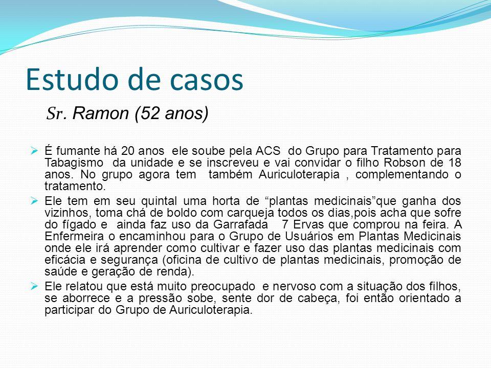 Estudo de casos Sr. Ramon (52 anos) É fumante há 20 anos ele soube pela ACS do Grupo para Tratamento para Tabagismo da unidade e se inscreveu e vai co