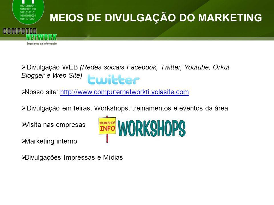 MEIOS DE DIVULGAÇÃO DO MARKETING Divulgação WEB (Redes sociais Facebook, Twitter, Youtube, Orkut Blogger e Web Site) Nosso site: http://www.computerne