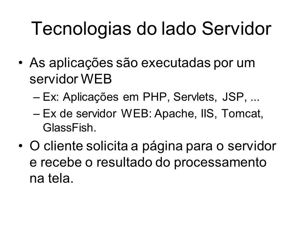 Tecnologias do lado Servidor As aplicações são executadas por um servidor WEB –Ex: Aplicações em PHP, Servlets, JSP,... –Ex de servidor WEB: Apache, I