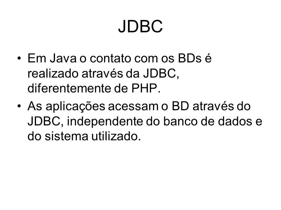 JDBC Em Java o contato com os BDs é realizado através da JDBC, diferentemente de PHP. As aplicações acessam o BD através do JDBC, independente do banc