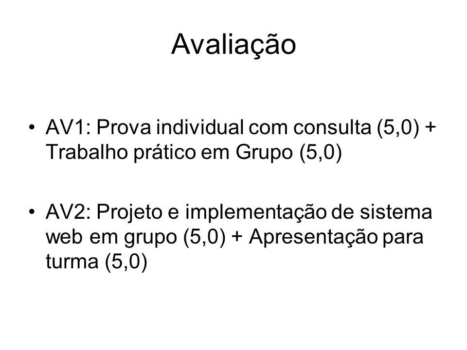 Avaliação AV1: Prova individual com consulta (5,0) + Trabalho prático em Grupo (5,0) AV2: Projeto e implementação de sistema web em grupo (5,0) + Apre