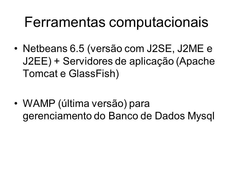 Ferramentas computacionais Netbeans 6.5 (versão com J2SE, J2ME e J2EE) + Servidores de aplicação (Apache Tomcat e GlassFish) WAMP (última versão) para